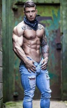 Image result for muscle men in ripped jeans