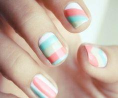 #nails #pastel #stripes #pink #mint #green #yellow