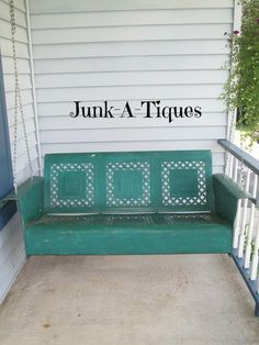 Repurposed Antique Metal Glider into a great Porch Swing... detach legs... drill into arms to run chains and hang!!