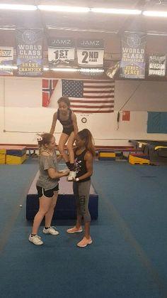 # Cheer stunts Full Up 2 Base Stunt Easy Cheerleading Stunts, Cool Cheer Stunts, Cheer Jumps, Cheer Tryouts, Cheerleading Cheers, Cheer Athletics, Cheer Coaches, School Cheerleading, Cheer Pyramids