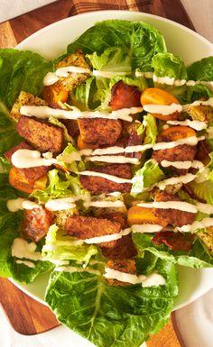 Vegan Caesar Salad with Smoky Tempeh Crispy goodness that'll boost your day! via @https://au.pinterest.com/dvegans/