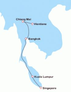 This luxurious train offers unique journeys that capture the vibrant cities, ancient cultures with quaint villages that forms the landscape of Thailand, Singapore and Malaysia.