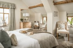 The light-filled master bedroom at The Wilds Country Cottage Living Room, Country Cottage Bedroom, Country Cottage Interiors, Cotswold Cottage Interior, English Cottage Bedrooms, Cottage Style Bedrooms, Country Cottages, Coastal Cottage, Cottage Curtains