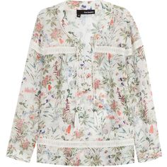 The Kooples Printed Blouse (340 CAD) ❤ liked on Polyvore featuring tops, blouses, florals, floral print blouse, sheer blouse, flower blouse, sheer floral blouse and lace up top