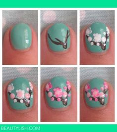 Cherry Blossom Nail Art and other Cool and Easy Nail Art Ideas and Tutorials | #DIYready www.diyready.com