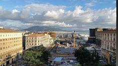 Italy, Naples, Piazza Municipio, Vesuvio