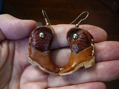 Real Leather Boot boots Earrings pair miniature shoe shoes earring EE-12. $18.99, via Etsy.