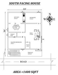 South Facing House, Kids Bedroom, Master Bedroom, 2bhk House Plan, Puja Room, Vastu Shastra, Under Stairs, Autocad, Toilet