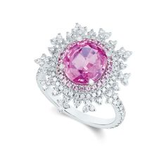 Nadine Aysoy ~ Tsarina Berry Flake Ring, in 18k white gold set with one oval pink sapphire, surrounded by round-cut pink sapphires and 105 round-cut white diamonds