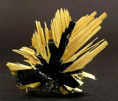 Rutile and Hematite    The crystals of Rutile have grown epitaxially on tabular Hematite.  Novo Horizonte, Bahía, Brazil.  Mined in February 2004  Specimen size: 2.8 × 2.4 × 0.2cm.