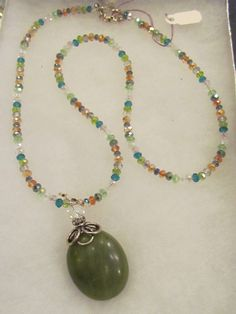 Local Artists #FuschiaCouture Crystal & Green Stone Necklace