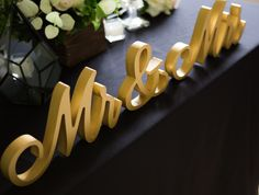 Gold Script Mr and Mrs Table Signs for a Ultra Romantic Wedding Sweetheart Table Setting | Handmade Wedding Decor & Gifts at www.ZCreateDesign.com... or shop ZCreateDesign on Etsy