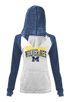 Michigan Wolverines Womens White Burnout Hoodie