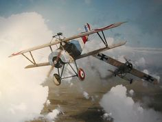 Navarre to the Rescue by Andrew Dillon, A painting of the French Ace Jean Navarre in his Nieuport Bebe having just tackled a Fokker Eindecker.On a number of occasions French bomber and observation aircraft crew reported having been saved form one of the dreaded Fokkers by Navarre swooping in to save them although he was not credited with these victories.
