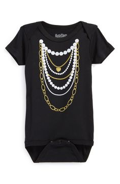 Cute onsie! Love the pearl and gold necklace print.