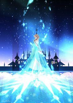 Tags: Anime, Blue Dress, Disney, Stars (Sky), Night Sky, Frozen (Disney), Elsa the Snow Queen