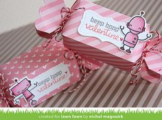 Lawn Fawn - Candy Box, Stitched Labels, Beep Boop Birthday + coordinating dies, Happy Everything, Let's Polka, Mon Amie paper, Sweetheart Lawn Trimmings _ candy boxes by NIchol for Lawn Fawn Design Team