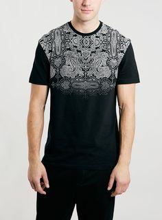 BLACK BANDANA YOKE PRINT CLASSIC CREW T-SHIRT - TOPMAN USA