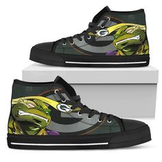 Turtle Green Bay Packers Ninja High Top Shoes