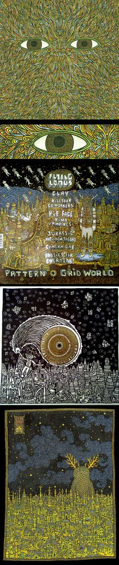 Flying Lotus – Pattern+Grid World  Art by: Theo Ellsworth
