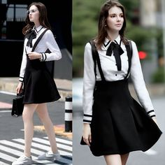 Fashion Women Bow Collar Splice Color Long Sleeve White Blouse Casual Shirt Tops