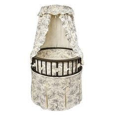 "Badger Basket Black Round Baby Bassinet - Black Toile Bedding - Badger Basket Company - Babies ""R"" Us"