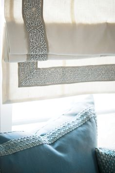 Inspired by India's Craft Revival trend, Fabricut's Embroidered and Woven Tapes collection reflects intricate embroidery techniques in alluring designs and colors. Featured trimmings: Indochine – Chambray and Turlington – Chambray