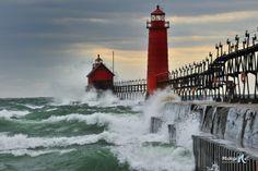 Grand Haven Lighthouse Storm , Huge waves crashing