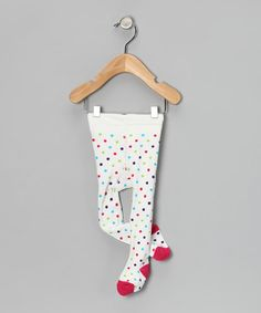 Take a look at this White Polka Dots Tights by flutters on #zulily today!