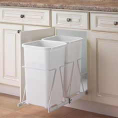 Real Solutions by Knape & Vogt 19 in. x 11.38 in. x 23 in. In Cabinet Pull Out Trash Can-PRC12-2-27-R-W - The Home Depot