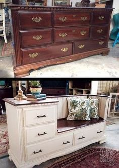 Farmhouse Bliss! The Quirky Cottage took an old discarded dresser & transformed into a gorgeous bench with storage drawers and a built in side table. Refinished in General Finishes Linen Milk Paint & Antique Walnut Gel Stain. Love!
