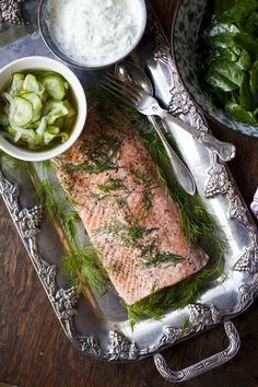 Poached Salmon with Cucumber Pickle and Dill Creme Fraiche | DonalSkehan.com