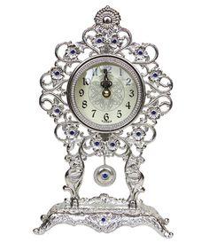 Antique Style Pendulum Table Clock, Desk Clock Home Decoration / Silver Home Decoration, Desk Clock, Table, Antique, Silver, Gifts, Clock Table, Presents, Tables