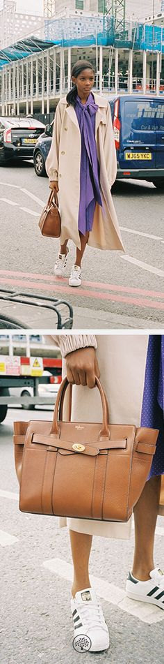 Small Zipped Bayswater Bag in Oak Leather and the Augusta dress in Casis Crepe at Mulberry.com.