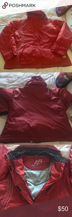 Snowboarding/snow Jacket Red Powderroom snowboarding jacket- extremely warm. Hood zips off- pockets with zippers and button enclosure inside to keep snow out! Zippered wrists powderroom Jackets & Coats