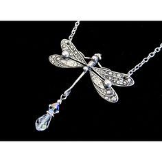 Dragonfly Necklace Women's Necklaces Swarovski Crystal Dragonfly... ($25) ❤ liked on Polyvore featuring jewelry, necklaces, choker jewelry, clear necklace, beaded choker necklace, clear crystal necklace and beading necklaces