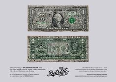 Rahman Hak-Hagir - THE DETROIT DOLLAR, 2013 ||  One Dollar Note & China Ink, Signed, Dated, Glass-Frame, 156 x 66 mm || Worldwide one-off piece. All the inhabitants of the city of Detroit property. || As a permanent loan to MONA Detroit.