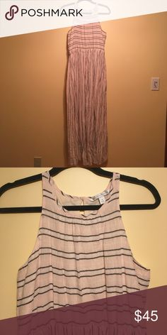 Medium Lauren Conrad linen and cotton maxi. Medium Lauren Conrad linen and cotton maxi. Pale pink and white with navy pin stripes, fully lined, with pockets! Worn once. LC Lauren Conrad Dresses Maxi
