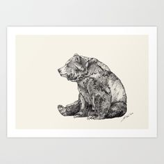 Bear // Graphite Art Print by Sandra Dieckmann | Society6