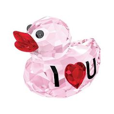 """Swarovski Crystal """"Happy Duck - I Love You"""" Pink and Red Crystal Figurine"""