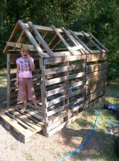 Pallet club house... Just add siding and roof. Cheap to frame up using pallets