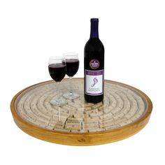 Need to figure out how to DIY!!! Epicureanist Lazy Susan Cork Display #home #decor #kitchen #dining #wine #beverages
