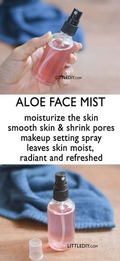 ALOE FACE MIST TO SHRINK PORES and SMOOTH SKIN Aloe is a well-known beneficiary of skin and hair and a commercial beauty product. It has amazing skin that softens and shrinks pores and shrinks pores. Here is a homemade aloe facial mist recipe that exists Belleza Diy, Tips Belleza, Aloe On Face, Piel Natural, Natural Toner, Natural Makeup, Natural Skin Care, Shrink Pores, Makeup Setting Spray
