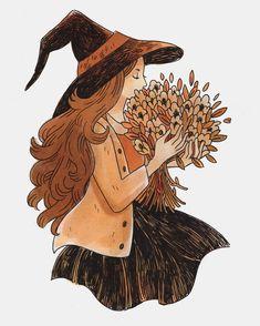 "7,302 Me gusta, 19 comentarios - Heikala (@heikala) en Instagram: ""Inktober day 6, Autumn Flowers #inktober #witch #halloween"""