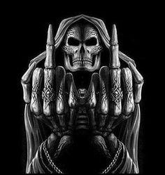 Afbeeldingsresultaat voor Fuck you skull memes Skull Wallpaper, Images Wallpaper, True Quotes, Funny Quotes, Grim Reaper Art, Grim Reaper Quotes, Rock Poster, Skull Pictures, Santa Muerte