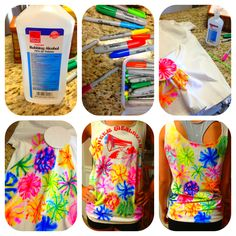 DIY sharpie tie die. Use sharpies and alcohol to make your own designs.