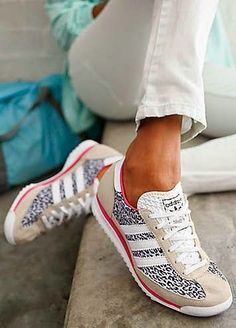 Trendy Women's Sneakers: Adidas - Them Clothes - shoes Women's Shoes, Cute Shoes, Me Too Shoes, Shoe Boots, Shoes Sneakers, Leopard Sneakers Outfit, Leopard Print Sneakers, Flat Shoes, Adidas Fashion