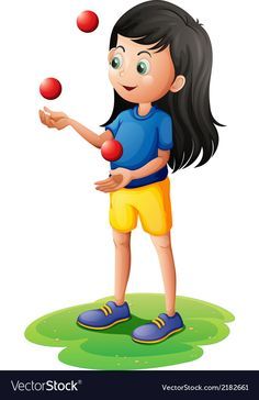 A girl juggling vector image on VectorStock