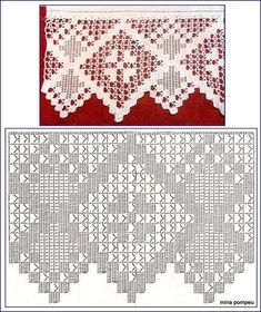 "Photo from album ""Кайма крючком"" on Yandex. Filet Crochet, Crochet Lace Edging, Crochet Motifs, Crochet Borders, Crochet Diagram, Crochet Chart, Crochet Trim, Thread Crochet, Crochet Stitches"