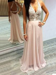 Sexy Prom Dress,Pink Prom Dresses Halter Prom Gown,V-Neck Prom Gowns,Lace Prom Dresses,Sleeveless Open Back Formal Gown,Chiffon Evening Gowns,New Arrival Party Dress,Prom Dresses